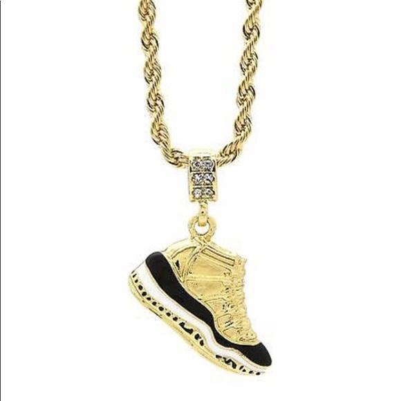 Retro 11 Concord Nike 14K Gold Pendant And Chain